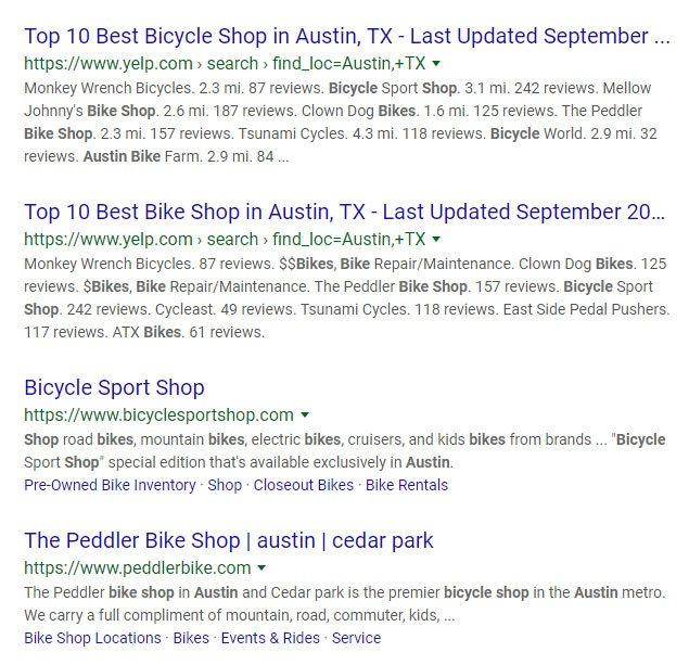 bike shop austin search results