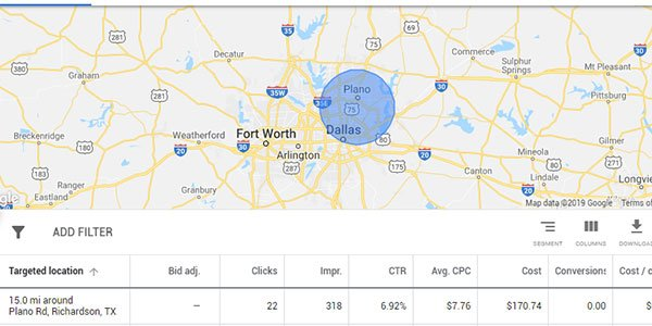 geographic targeting google adwords example