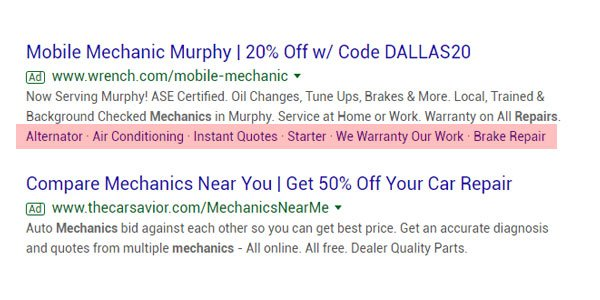 google adwords ad extensions example