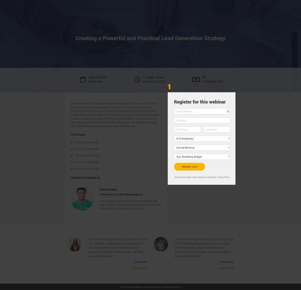 lead generation webinar call to action screenshot