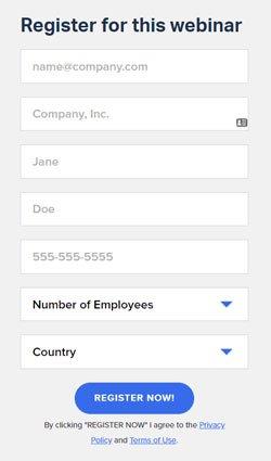 webinar sign up form example screenshot