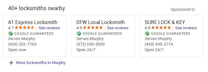 locksmith local services ads example