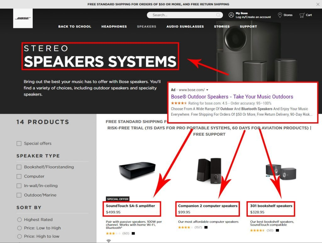 bad bose ppc landing page example