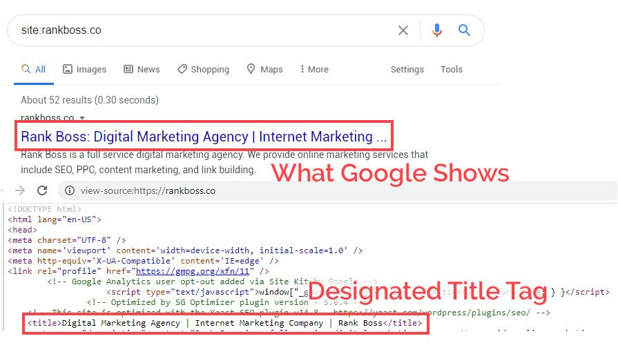 common seo mistakes title tag example screenshot