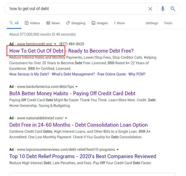 how to get out of debt ppc ad copy examples